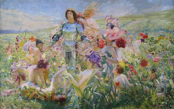 5-1894- Rochegrosse-ChevalierFleurs